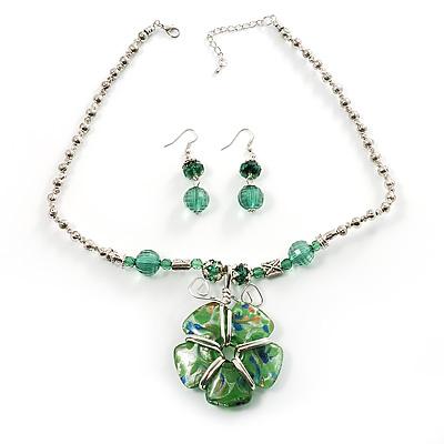 Green Glass Floral Fashion Set (Necklace & Earrings) - main view