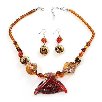 Fish Fin Glass Pendant &amp; Earrings Set (Amber &amp; Citrine)