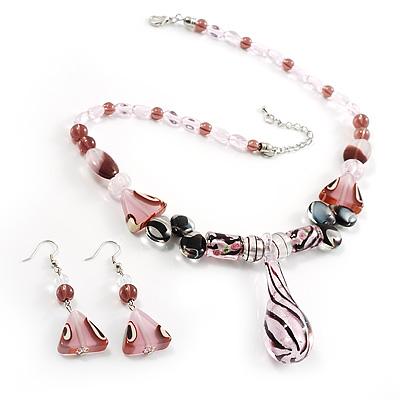 Romantic Pink Teardrop Pendant & Earrings Glass Fashion Set