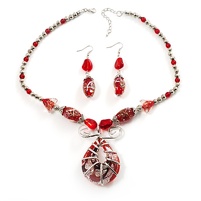 Red Glass Bead Vintage Set