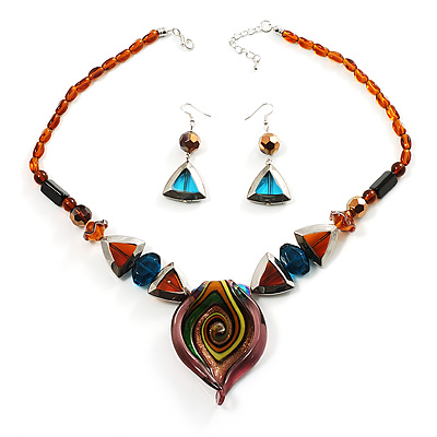 Multi-Coloured Geometrical Glass Fashion Set