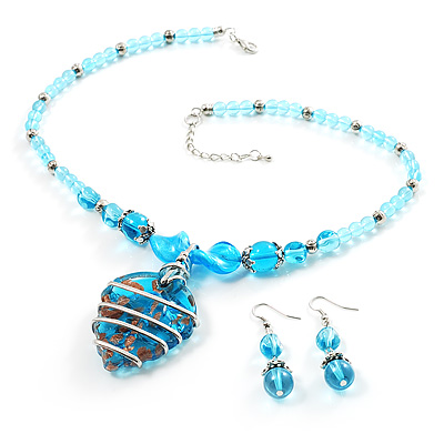 Blue Glass Bead Leaf Pendant & Earring Fashion Set