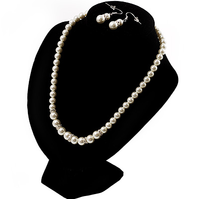 White Classic Glass Pearl Necklace &amp; Drop Earring Set