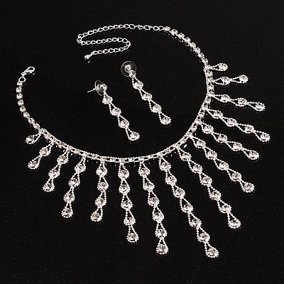 Timeless Beauty Drop Necklace And Earring Set (Clear)