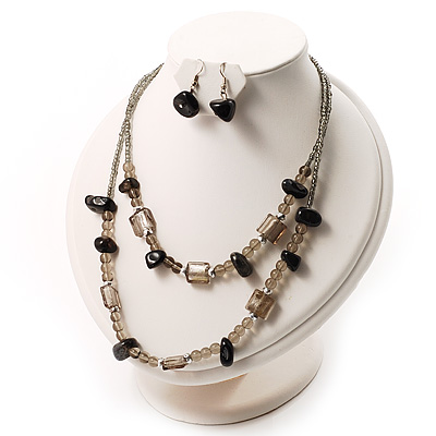2 Strand Glass&amp;Semiprecious Nugget Necklace&amp;Earring Set (Black&amp;Grey)