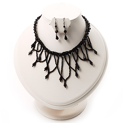 Black Gothic Fashion Necklace And Earring Set - main view