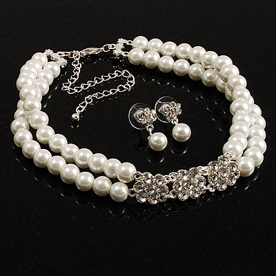 Pearl Style Crystal Floral Choker And Earring Set (Snow White&amp;Clear)