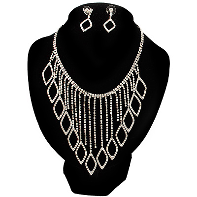 Divine Extravagance Swarovski Crystal Bib Necklace And Dangle Earring Set (Silver Tone)