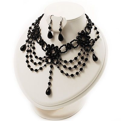 Black Gothic Costume Choker Necklace And Earring Set - main view