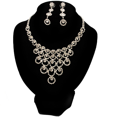 Bridal Swarovski Crystal Bib Necklace And Drop Earring Set (Silver Tone)