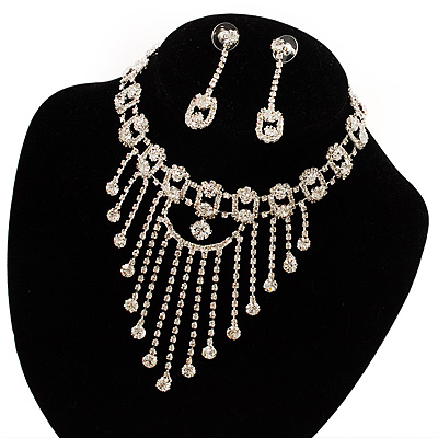 Treasured Heirloom Bib Necklace And Drop Earring Set (Silver Tone) - main view