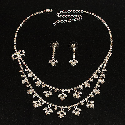 Bridal Clear Diamante Layered Floral Necklace & Earrings Set In Silver Plating