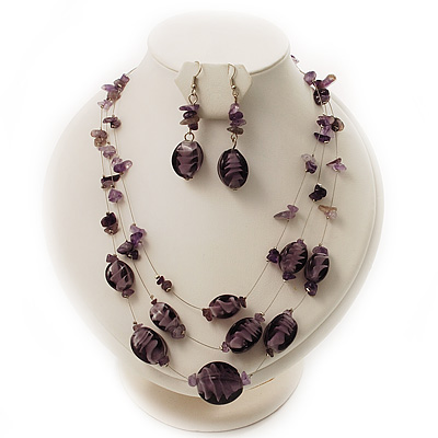 3-Strand Purple Glass And Amethyst Chips Stone Necklace And Drop Earrings Set