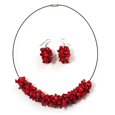 Coral Red Nugget Cluster Choker And Drop Earrings Set (Black Tone)