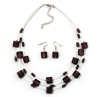 3 Strand Purple Glass Bead  Wire Necklace And Drop Earring Set (Silver Tone)