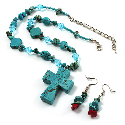 Turquoise Bead Cross Necklace And Drop Earrings Set (Silver Tone) - main view