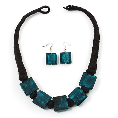 Chunky Teal Glass Cotton Cord Choker Necklace&Drop Earrings Set