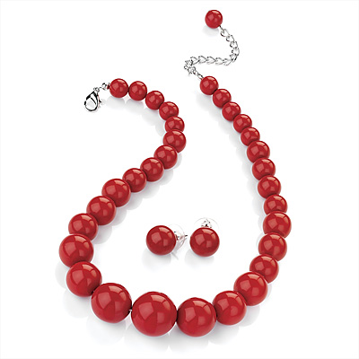 Hot Red Acrylic Bead Choker Necklace And Stud Earring Set (Silver Tone)
