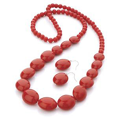 Long Hot Red Acrylic Bead Necklace And Drop Earring Set (Silver Tone)