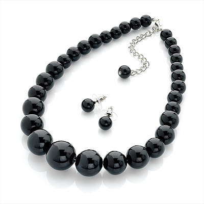 Jet Black Acrylic Bead Choker Necklace And Stud Earring Set In Silver Tone - 34cm L/ 7cm Ext - main view
