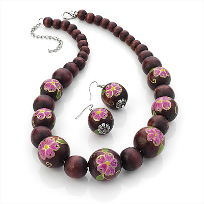 Dark Cherry Floral Wood Bead Necklace & Drop Earrings Set (Silver Tone) - 50cm Length