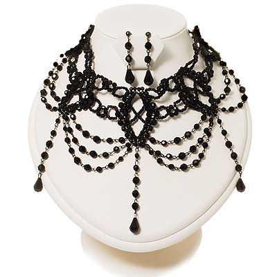Chic Victorian/ Gothic/ Burlesque Black Bead Choker And Earrings Set