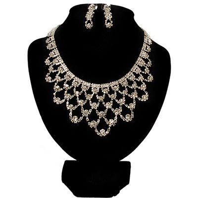 Luxury Swarovski Crystal Bib Necklace And Drop Earring Set (Silver Tone) - main view