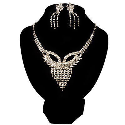 Swarovski Crystal Modern Appeal Bib Necklace and Earrings Set (Silver Tone)