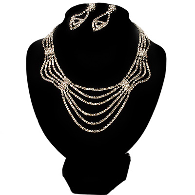 Bridal Diamante Wavy Style Bib Necklace & Drop Earrings Set (Silver Tone)