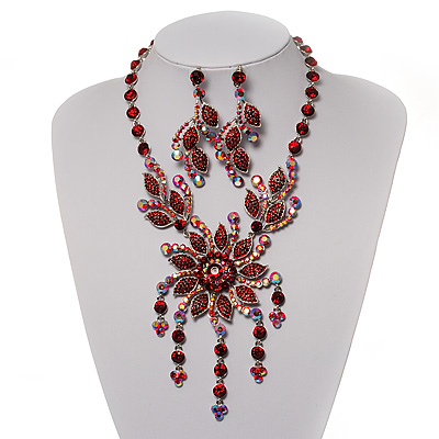 Luxury Ruby Red Swarovski Floral Necklace &amp; Earrings Set (Silver Tone)