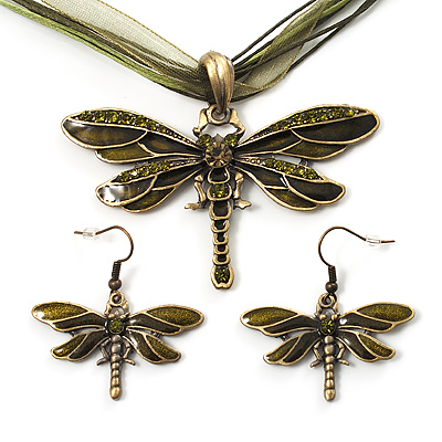 Olive Green Enamel Dragonfly Organza Cord Necklace &amp; Drop Earrings Set (Bronze Tone) - main view