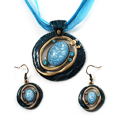 Teal Open-Cut Disk Enamel Organza Cord Necklace & Drop Earrings Set (Bronze Tone)