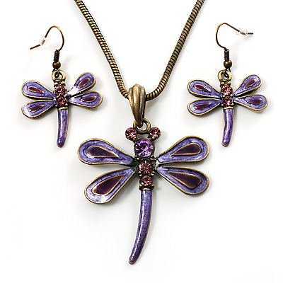 Purple Enamel Dragonfly Necklace &amp; Drop Earrings Set (Bronze Tone)