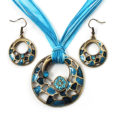 Light Blue Open-Cut Disk Enamel Organza Cord Necklace &amp; Drop Earrings Set (Bronze Tone)