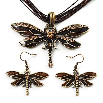 Chocolate Brown Enamel Dragonfly Organza Cord Necklace &amp; Drop Earrings Set (Bronze Tone) - main view