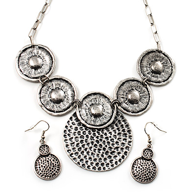 Antique Silver Textured Disc Necklace & Drop Earrings Set - main view