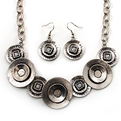 Ethnic Disc Necklace & Drop Earrings Set (Antique Silver) - main view
