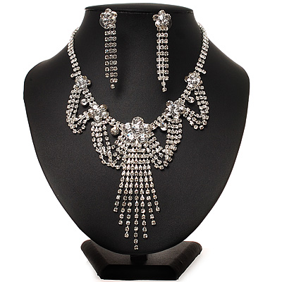 Bridal Swarovski Crystal Flower Tassel Necklace & Earrings Set In Rhodium Plated Metal - main view