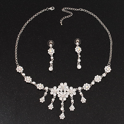 Bridal Swarovski AB/Clear Crystal Floral Necklace & Earrings Set In Rhodium Plated Metal