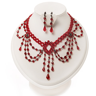 Red Gothic Costume Choker Necklace And Earring Set