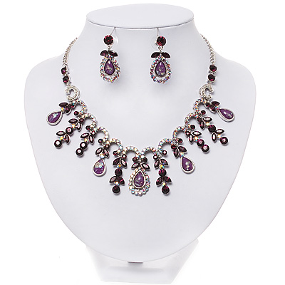 Vintage AB/Purple Crystal Droplet Necklace &amp; Earrings Set In Rhodium Plated Metal