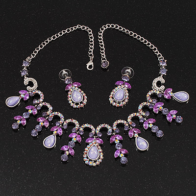 Vintage AB/Purple/Lavender Crystal Droplet Necklace &amp; Earrings Set In Rhodium Plated Metal