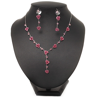 Delicate Y-Shape Pink Rose Necklace & Drop Earring Set