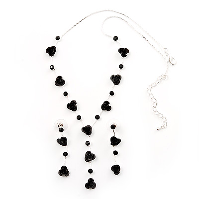 Delicate Y-Shape Black Rose Necklace & Drop Earring Set - main view