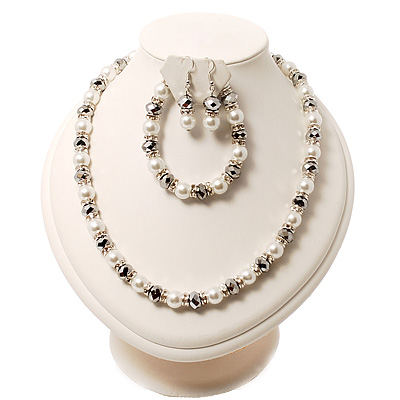 White Pearl Style Bead With Diamante Ring Necklace, Bracelet & Earrings Set (Silver Tone Metal)