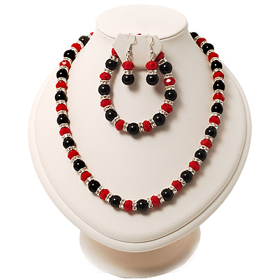 Black &amp; Red Bead With Diamante Ring Necklace, Bracelet &amp; Earrings Set (Silver Tone Metal)