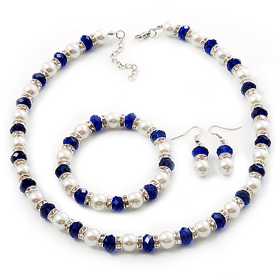White & Royal Blue Imitation Pearl Bead With Diamante Ring Necklace, Bracelet & Earrings Set (Silver Tone Metal)