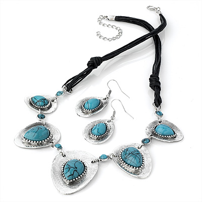 Turquoise Style Black Cotton Cord Necklace & Drop Earring Set (Burn Silver Finish) - 42cm Length
