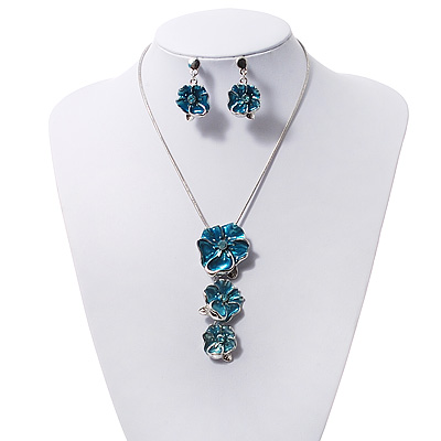 &#039;Triple Flower&#039; Teal Enamel Diamante Necklace &amp; Drop Earrings Set In Rhodium Plated Metal - 38cm Length (6cm extender)