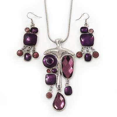 Purple Enamel Geometric Pendant Necklace & Drop Earrings Set In Rhodium Plated Metal - 38cm Length (7cm extender)